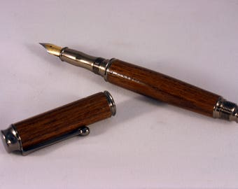 Teak Fountain Pen With A Gun Metal Finish