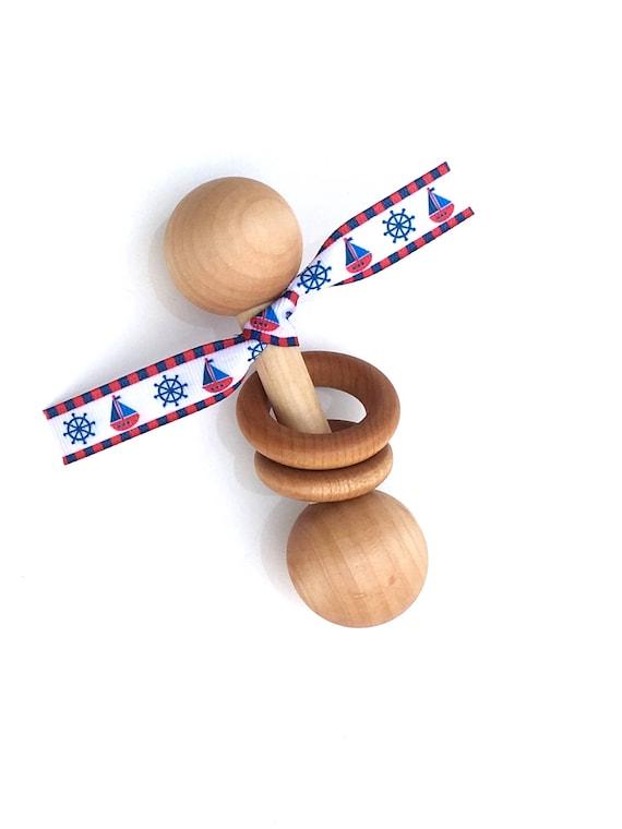 TOM-TOM TEETHER™ - Nautical Baby - Wooden Rattle - Newborn Teether - Teething Toy - Early Learning - Preemie Toy - Organic Teether