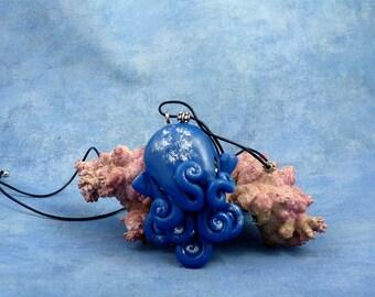 Night Sky Octopus Necklace, Blue Polymer Clay Cephalopod Jewelry