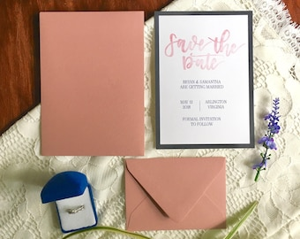 Blush and Navy Save the Date | Watercolor Blush Save the Date | Save the Date