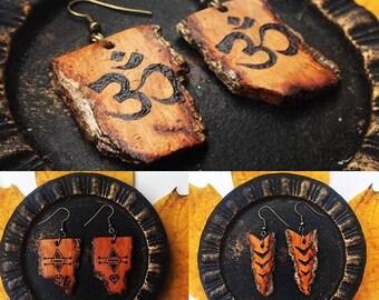 Custom Wooden Earrings, Earrings, Personalized Earrings, Custom Jewelry, Wooden Anniversary Gift,