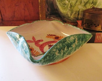 Vintage Italian Pottery Dish, Hand-Painted Art Pottery Dish, Coffee Table Decor