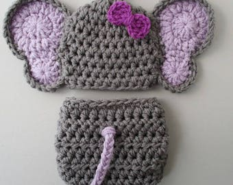 Newborn Elephant Outfit Baby Girl Outfit Knit Baby Costume Crochet Newborn Outfit Baby Photo Prop Elephant Outfit Crochet Baby Elephant