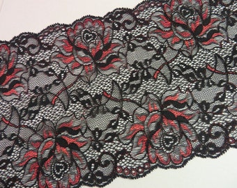 2m black elastic lace with red rose 17cm wide
