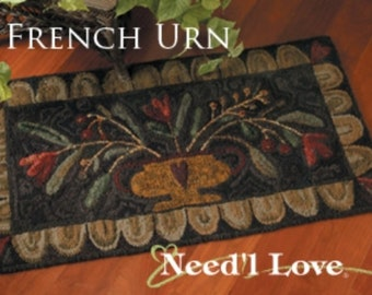 """Pattern: Rug Hooking Pattern """"French Urn"""" by Maggie Bonanomi for  Needle Love Designs"""