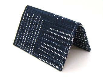 Mini Wallet / Card Holder / Business Card Holder / Card Case / Gift Card Holder/ Small Wallet - Indigo Blue Geometric Dots