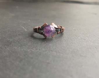 Amethyst Copper Ring. Round Crystal Ring