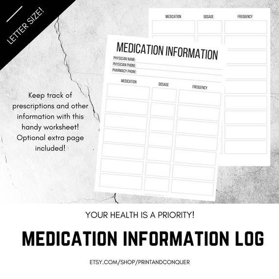 medication tracker prescription tracker printable medicine