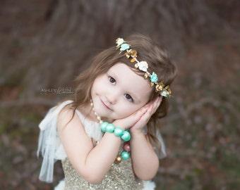 Mint Gold Cream Flower Crown - Floral Halo - Boho Headband - Newborn Baby Toddler Kids - Weddings - Photo Prop