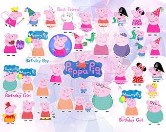 SVG Peppa Pig Clipart LAYERED Vector Cut File Cricut Design Silhouette Cameo Birthday Party Vinyl Tshirt Decal Transfer Paper Coloring Pages