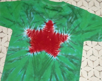 Tie dye shirt, youth large, Christmas star