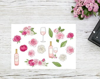 Planner stickers Rosé wine pink and white roses in watercolors