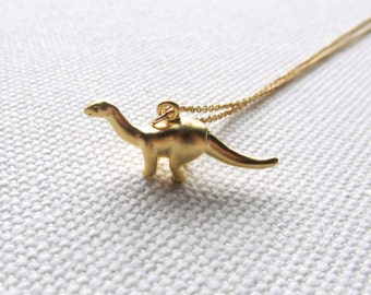 Gold Dinosaur Necklace Brontosaurus Charm Necklace Thin Gold Filled Chain Birthday Gift Friend Gift Idea Cute Tiny Dinosaur Pendant