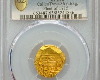 """MEXICO 1714 2 ESCUDOS pcgs 63 """"1715 fleet"""" shipwreck doubloon gold treasure coin"""