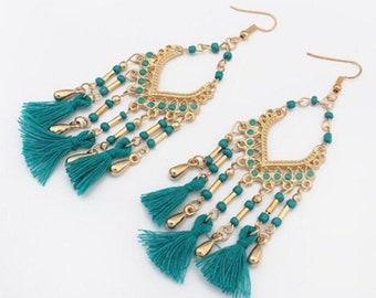 Bohemian Design Beads and Tassel Earrings - Teal