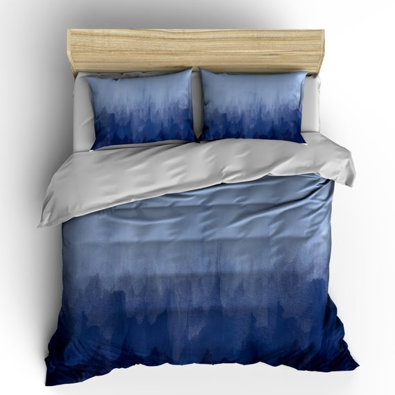 Grey Or Navy Blue Watercolor Bedding Duvet Cover Or Comforter
