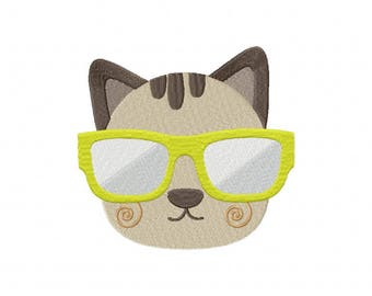 Cool cat kitten sunglasses embroidery design