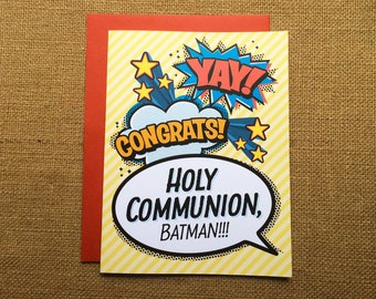 Holy Communion, Batman! - First Communion Greeting Card