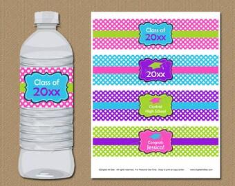 Graduation Favors, Girls Graduation Water Bottle Labels, Pink Graduation Decor, Girl Graduate, College Graduation 2018, Party Supplies G4