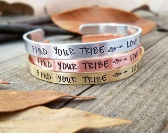 Find your tribe love them hard - stamped cuff bracelet - quote cuff - silver stamped bracelet - my tribe bracelet - boho tribe jewelry gifts