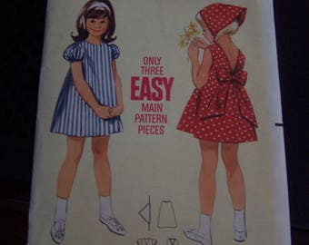 Butterick 4246 Girl Size 3 A-Line Summer Dress and Scarf VINTAGE 1960s