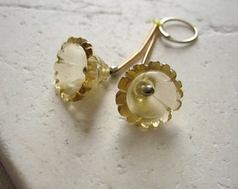 Beer Quartz Hand Carved Flower Beads 12.5x9mm - Matched Gemstone Pair