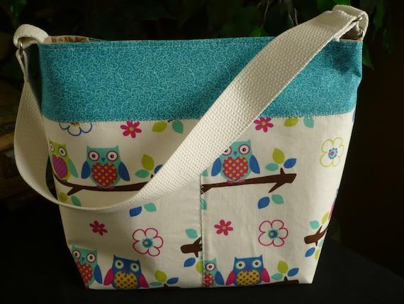 Owl & Turqouise Bucket-Style Purse Diaper Bag