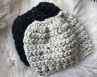 Sale- Womens or teen messy bun beanie, ponytail hat. Messy bun hat.  Black tweed or cream tweed. Chunky soft yarn. Sloppy bun hat