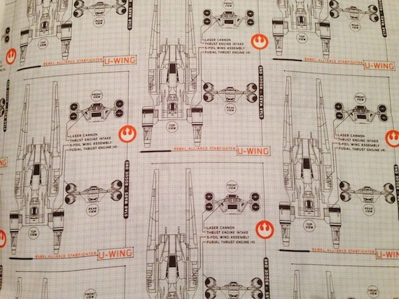Star wars vii rogue one u wing blueprint cotton fabric sold by the star wars vii rogue one u wing blueprint cotton fabric sold by the half yard from prettydustystuff on etsy studio malvernweather Image collections
