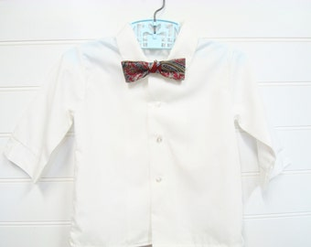 Two Piece Set, Vintage Baby Clothes/Baby Boy Dress Shirt With Handmade Bow Tie. #
