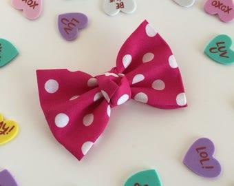Fabric Bow, Baby Headband, Pink Bow, Pink Polka Dot Bow, white Polka Dots, Valentines Bow