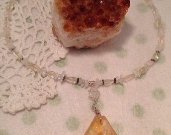 Citrine Gemstone Sterling Silver Necklace, Gemstone Necklace, Sterling Silver Necklace, Citrine Pendant, Handmade Gemstone Necklace