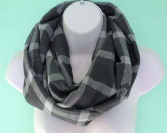 black and gray plaid infinity scarf, flannel Infinity Scarf -Circle Scarf -plaid Loop Scarf, Eternity Scarf, Fall Scarf, Winter Scarf
