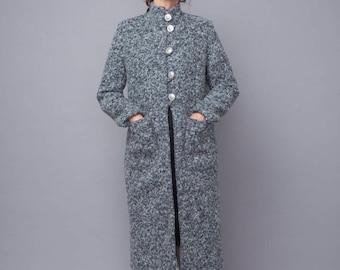 gray coat,warm coat,boucle fabric coat, women coat, long coat, fitted women coat, winter coat,