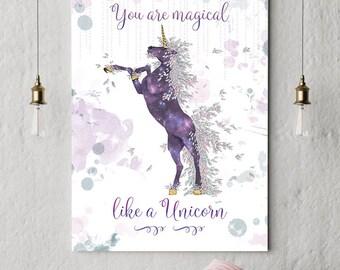 Stampe UNICORNO, Unicorn Wall Art, Poster Unicorno, Idee regalo Unicorno, Unicorno gadget,  Stampe Murali, Digital download, Stampe digitali