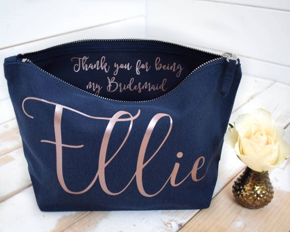 Personalised Thank you Gift - Bridesmaid Gift Make Up Bag - Maid of Honour Gift - Unique Gift for Bridal Party - Wedding Makeup Cosmetic Bag
