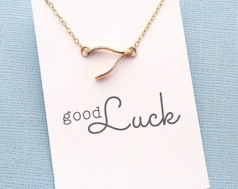 Wishbone Necklace | Graduation Gift, Student Gift, Student Gifts, College Student, Class of 2018, Graduations, College, Good Luck | X08