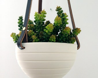 Hanging Planter in Ceramic and Recycled Leather - Suspended pot - Hive no.27