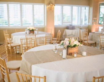 """102"""" x 15"""" Inch Burlap Table Runners (Fit 6ft Round Tables)"""