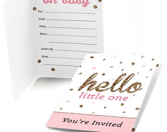 Hello Little One - Pink and Gold - Fill In Invitations - Girl Baby Shower Invitations - Party Invites - 8 Folding Note Cards w/Envelopes
