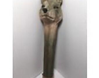 "Carved Wood Rainstick Wolf Coyote Dog 14.5"" Folk Art"