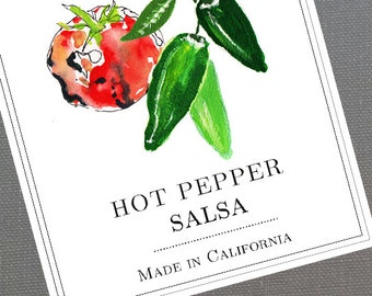 Personalized Salsa Labels or Tags, with Tomato and Peppers, set of 18