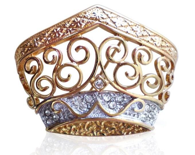 Vintage Regal War of The Roses Queens Crown Brooch Set With Swarovski Crystals