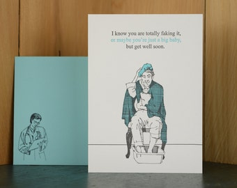 Big Baby - letterpress get well card