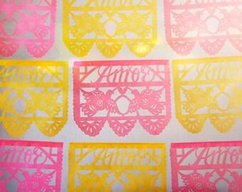 Wedding Decorations - papel picado AMOR banners - custom color