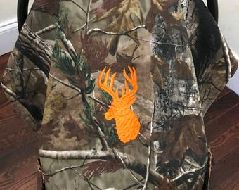 Baby Car Seat Tent,Canopy, Baby Shower Gift, Camouflage Car Seat Cover, Orange Deer Car Seat Cover, Baby Boy Shower Gift, Baby Carrier Cover
