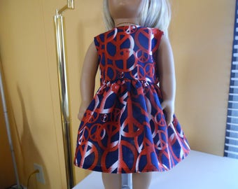 "Red, White and Blue peace sign dress for 18"" dolls"