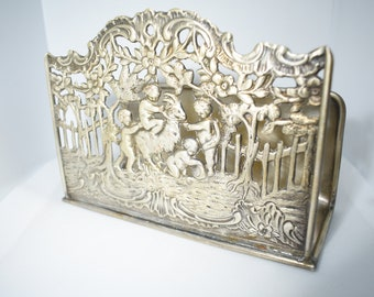 ANTIQUE ENGLISH SHEFFIELD Silver Plate Letter Rack 19TH C.