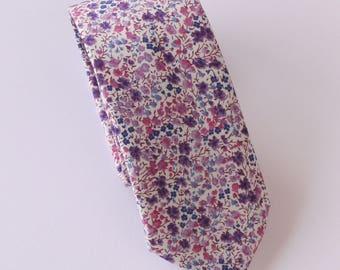 Floral tie  - Liberty tie - mens tie - purple tie - Liberty print tie Phoebe purple