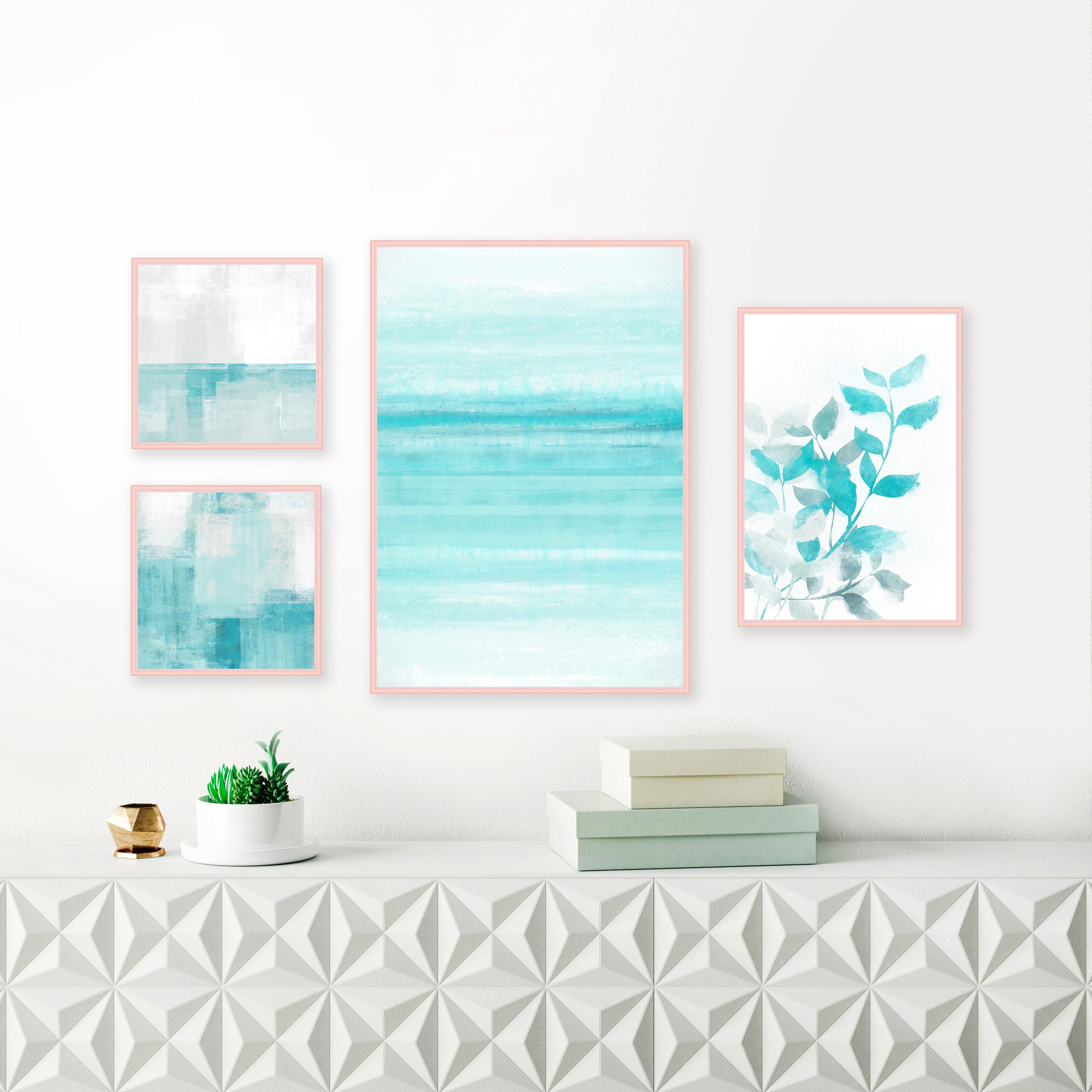 Aqua Gallery Wall Prints, Set of 4 Printable Abstract Artworks ...